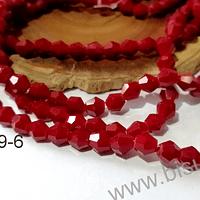 Cristal tupi 6 mm rojo oscuro, tira de 48 cristales aprox