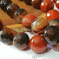 Agatas, Agata Multicolor tonos cafés, 14 mm de diámetro tira de 13 piedras aprox.