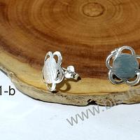 Base de aro baño de plata en forma de flor, 14 mm, por par
