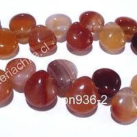 Agatas, Agata en forma de gota, 12 x 10 mm, ira de 14 piedras aprox.