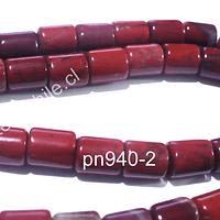Jaspe rojo en forma de tubo, 7 x 6 mm, tira de 55 piedras aprox.