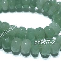Jade rondell facetado, 7 x 5 mm, tira de 38 piedras