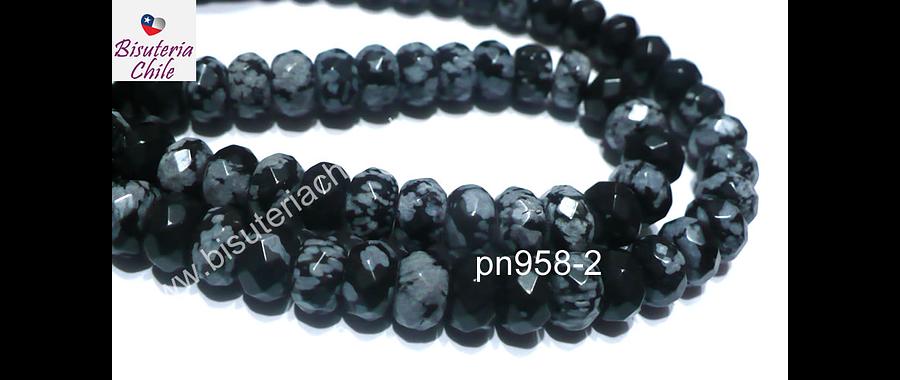 Obsidiana nevada rondell facetado, 7 x 5 mm, tira de 36 piedras
