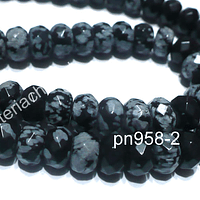Obsidiana nevada rondell facetado, 7 x 5 mm, tira de 40 piedras