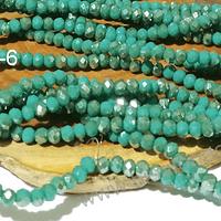 Cristal facetado verde con tonalidades plateadas de 3 mm x 2 mm, tira de 148 cristales aprox.