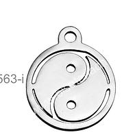 Dije de acero inoxidable, 12 mm de diámetro, por unidad