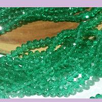 Cristal facetado color verde 4 mm, tira de 140 cristales aprox