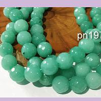 Agatas, Agata de 10 mm, facetada color jade tira de 37 piedras aprox.