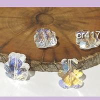 Cristal tipo separador en forma de oso, color transparente tornasol, 13 x 11 mm, set de 4 unidades