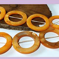 Nacar naranja, 32 mm de diámetro, tira de 13 piedras aprox