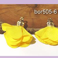 Borla flor amarillo, base dorado, 24 mm de largo, por par