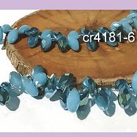cristal en forma de gota, facetado en tonos azulinos 12 mm de largo por 6 mm de ancho, set de 10 unidades