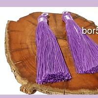 Borla gruesa 1 era calidad, de hilo de seda color lila, 7 cm de largo, set de 2 unidades