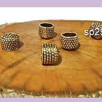 Casquete dorado, 11 x 8 mm, agujero de 8 mm, set de 6 unidades