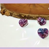 Cristal facetado colgante en forma de corazón tornasol rosado, 12 x 10 mm, set de 3 unidades. San Valentin