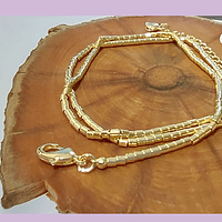 Collar con separadores baño de oro, 40 cm de largo, para usar como collar o pulsera.