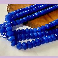 Agatas, Agata RONDELL facetada azul de 6, tira de 88 piedras aprox.