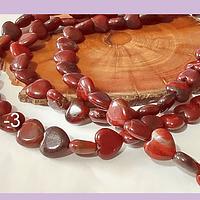 Corazón jaspe rojo, 11 x 11 mm, tira de 18 unidades