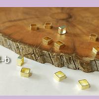 Separado cuadrado baño de oro, 4 x 2 mm, set de 1 grs, (set de 13 separadores aprox)