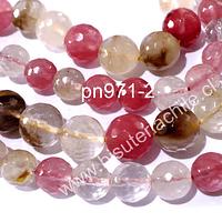 Cuarzo turmalinado facetado color sandía, 6 mm, tira de 63 piedras aprox