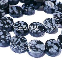 Obsidiana nevada, 10 mm de diámetro, 4 mm de ancho, tira de 19 piedras