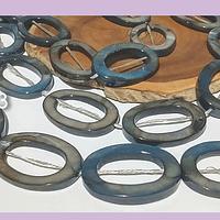 Nacar gris ovalado, 29 x 20 mm de diámetro, tira de 14 piedras aprox
