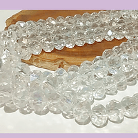 Cristal tornasol transparente, de 8mm por 6mm, tira de 69 unidades aprox