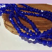 Cristal tupi 4 mm, color azul, tira de 75 cristales