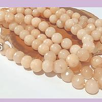 Agatas, Agata color damasco facetada de 8 mm, tira de 48 piedras aprox