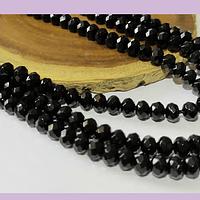 Agatas, Agata rondell facetada negra de 6, tira de 86 piedras aprox.