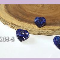 Cristal facetado colgante en forma de corazón tornasol azul, 12 x 10 mm, set de 3 unidades