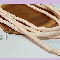 Tira de cuentas de goma, color crema, 4 mm de diámetro, tira de 40 cm de largo aprox