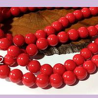 Jade rojo de 8 mm, tira de 48 piedras aprox