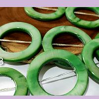 Nacar verde, 30 mm de diámetro, tira de 13 piedras aprox
