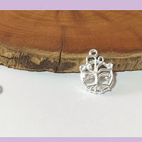 Dije baño de plata en forma de árbol de la vida, 14 x 10 mm, por unidad