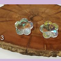 Cristal con forma de flor tornasol, 17 mm de diámetro, con agujero superior para colocar un valier, set de 2 unidades