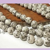 Agatas, Agata de 10 mm, facetada en color jaspeado blanco y gris, tira de 37 piedras aprox.