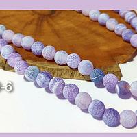 Agatas, Agata Frosting en tonos lilas, de 6 mm, tira de 62 piedras aprox.