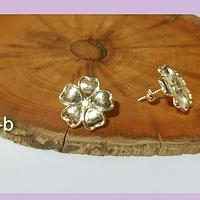 Aro en forma de flor, baño de oro (aro terminado), 16 mm, por par