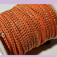 Gamuza color naranjo ladrillo con tachas doradas, 3 mm de ancho, por metro
