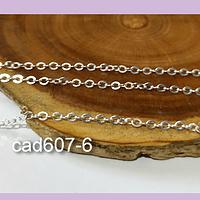 Cadenas, cadena plateada, 2 x 2, por metro