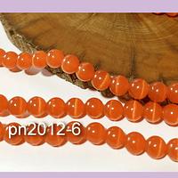 Ojo de gato liso en color naranjo, 6 mm, tira de 65 piedras aprox
