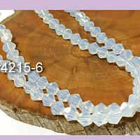 Cristal tupi 6 mm blanco piedra luna, tira de 49 cristales aprox.
