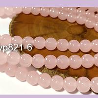 Perla de vidrio 8 mm color rosado tira de 53 unidades