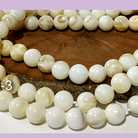 Madre Perla en tonos  crema, 8 mm , tira de 48 piedras aprox