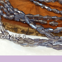 Cristal bicono gris facetado, 10 x 4 mm, tira de 70 cristales aprox.