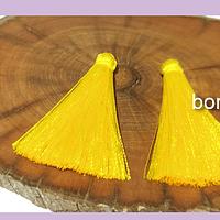 Borla de hilo de seda chica , color amarillo 4,2 cm de largo, set de dos