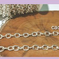 Cadenas, cadena plateada, eslabón de 6 x 5 mm, por metro