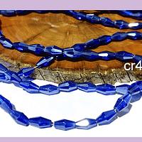 Cristal bicono azul facetado, 10 x 4 mm, tira de 70 cristales aprox.