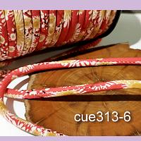 Cordón diseño, color rojo con aplicación de flores, 5 mm de ancho por metro